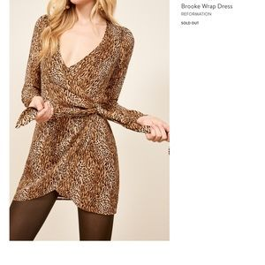 Reformation Wrap Dress Mini Large Animal Instinct